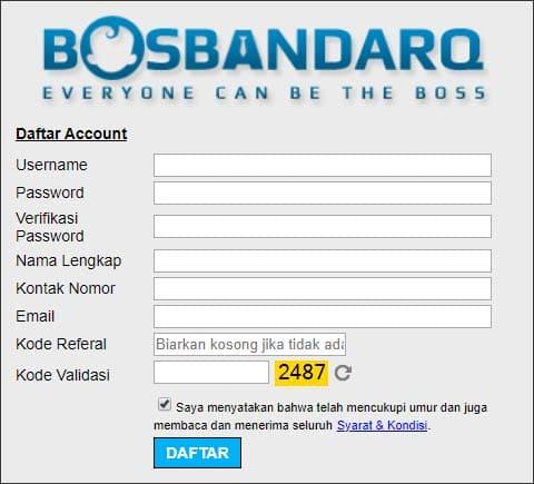 Form Daftar BandarQ PKV Games