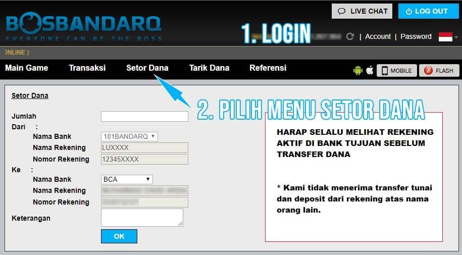 Form Deposit BandarQ PKV Games